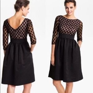 Eliza J Fit and Flare black polka dot dress.